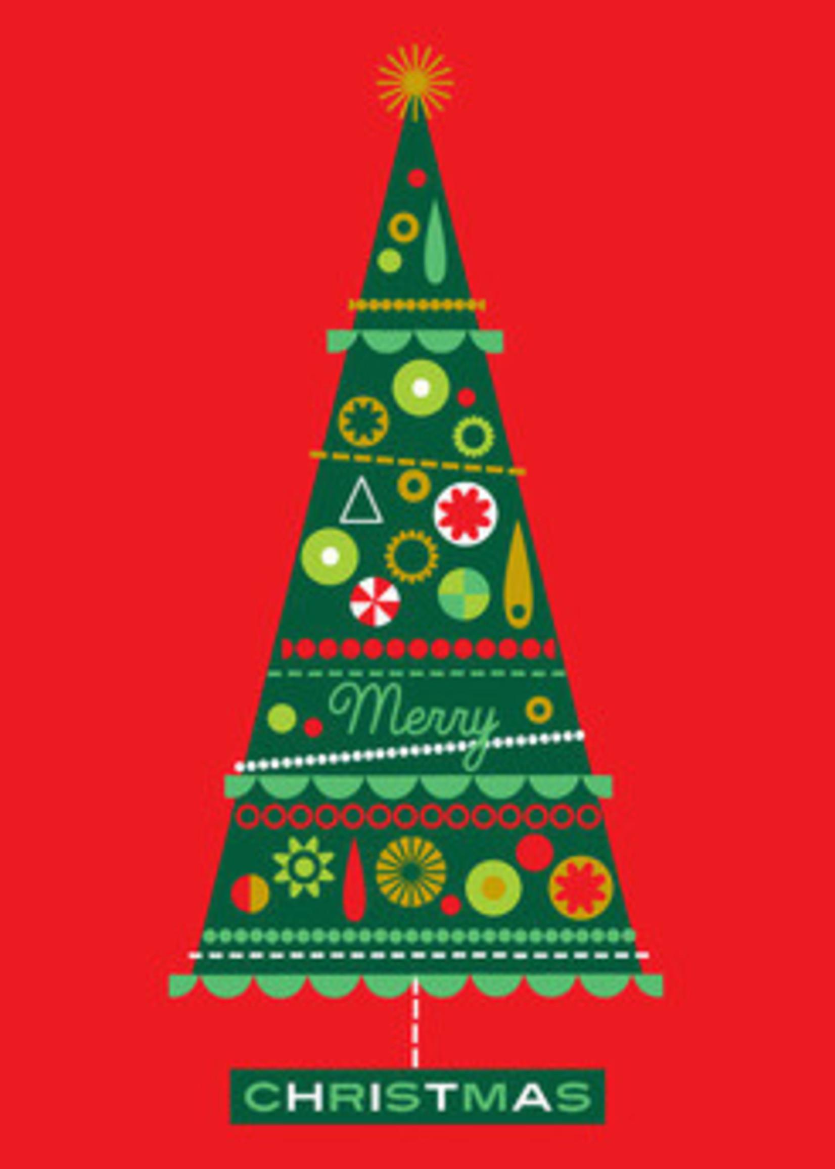 Card XMAS Tree on Red