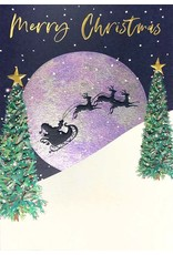 Card XMAS Santa's Sleigh & Moon
