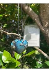 Necklace Labradorite Heart SS Vines