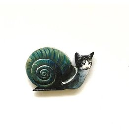 Pergamo Wood Magnet Snail Cat