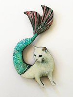 Wood Magnet Mermaid Cat