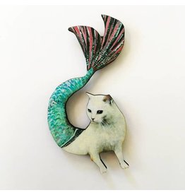 Pergamo Wood Magnet Mermaid Cat