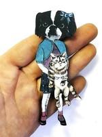Wood Magnet Dog Holding Cat