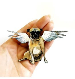 Pergamo Wood Magnet Angel Pug