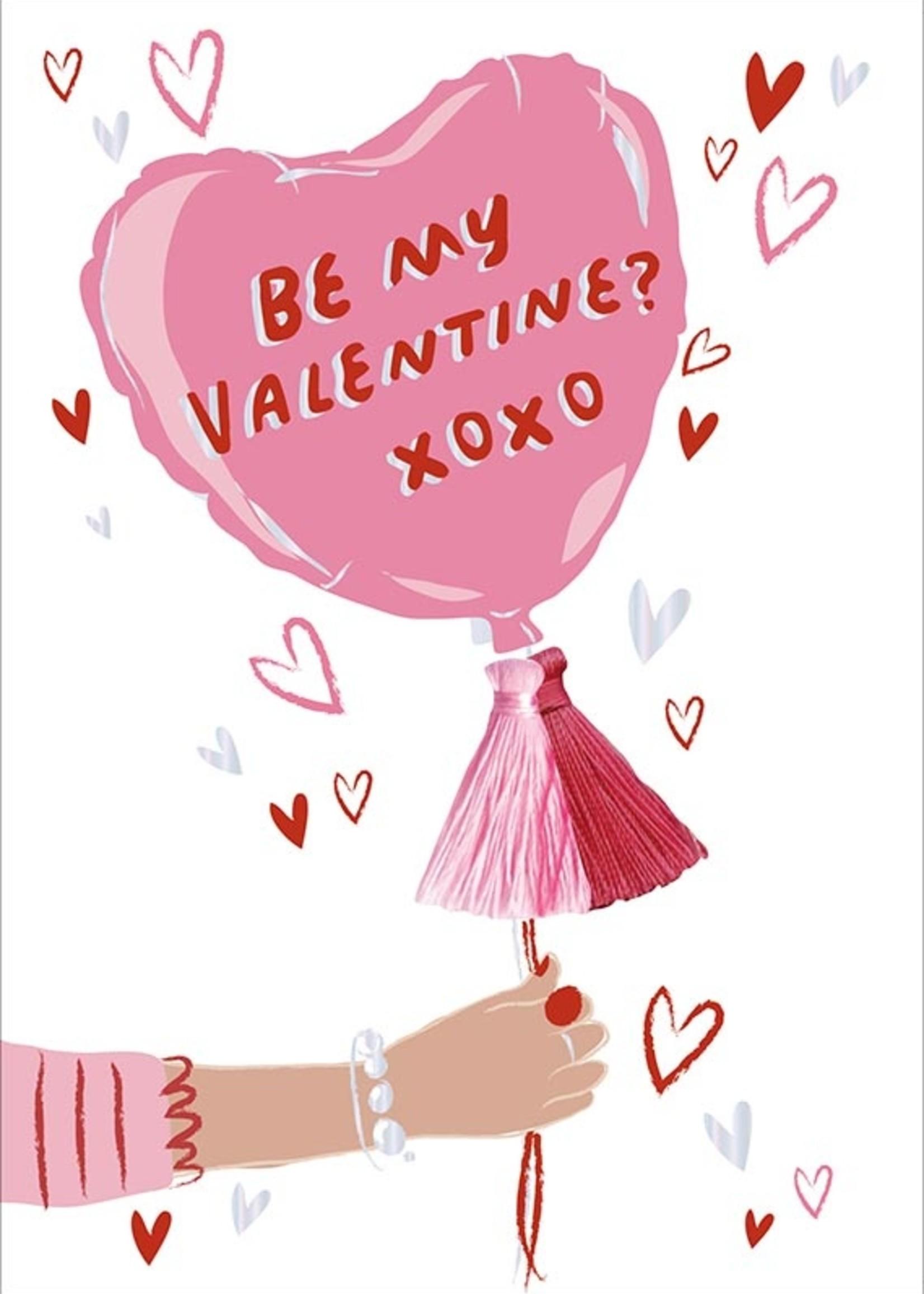 Card VDAY Be My Valentine Balloon