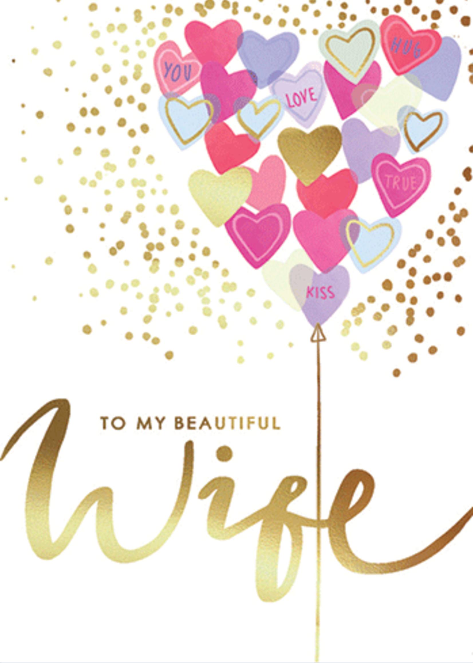 Card VDAY Wife Heart Balloons