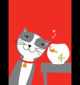 Card VDAY Cat w Fish Bowl
