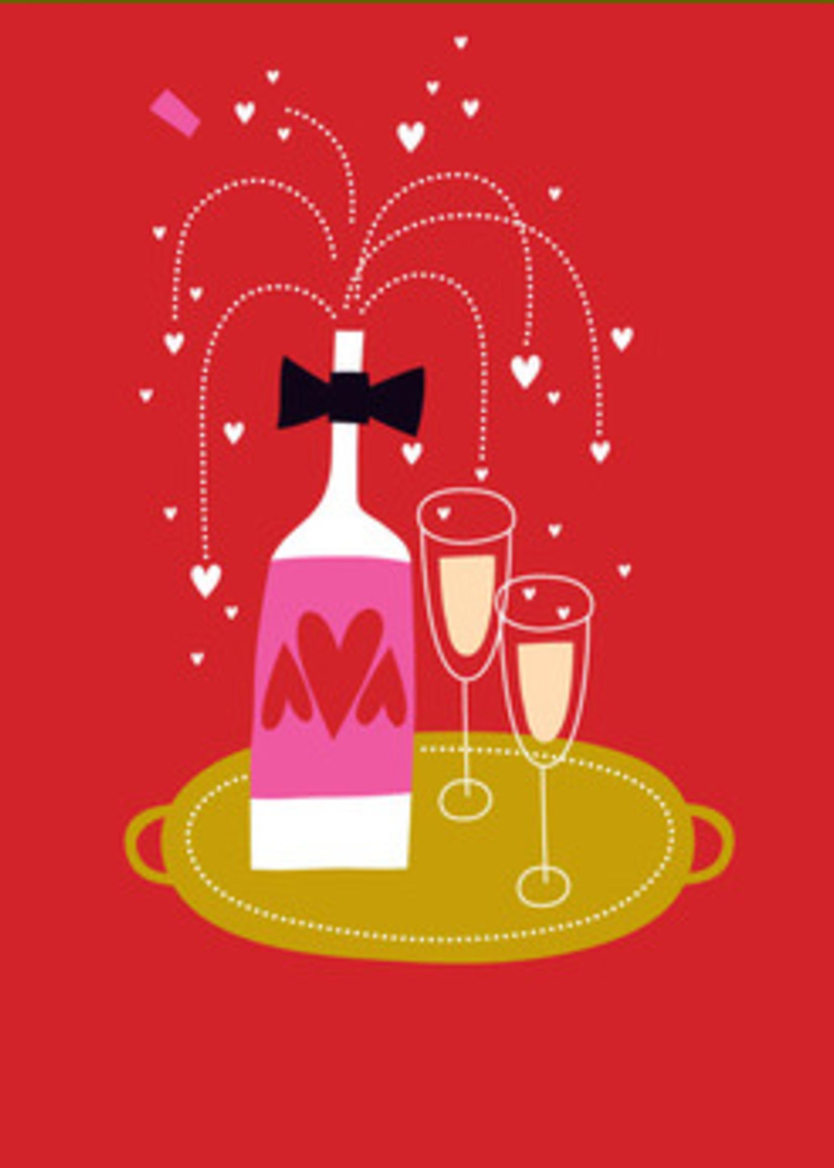 Card VDAY Champagne Bottle 2 Glasses