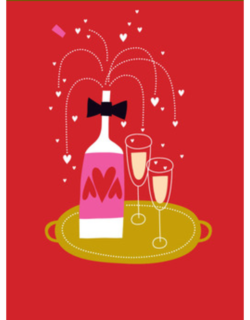 Card VDAY Champagne Bottle 2 Glasses