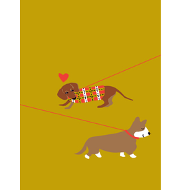 Card VDAY * Dogs on Leashes in Love on Gold