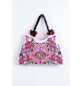 Embroidered Fabric Tote - White Hmong