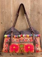 Embroidered Shoulder Bag Brown Hmong