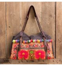 Embroidered Shoulder Bag Brown Hmong