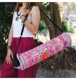Yoga Bag Embroidered Fabric Pink Hmong