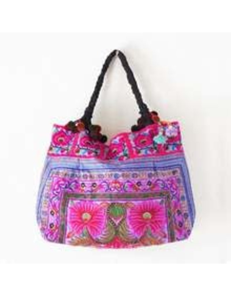 Embroidered Fabric Tote - Purple Hmong