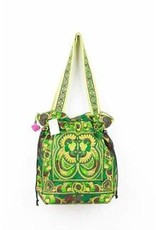 Embroidered Fabric CB Tote Green Hmong