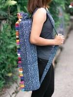 Yoga Bag Embroidered Fabric Blue Batik Hmong w/ PomPom