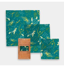 Bee's Wrap 3-pk ASSORTED Oceans Print (Sm, Med, Lg)