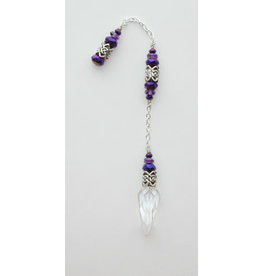 Pendulum Cl Qtz w Celtic & Purple Bead Accents