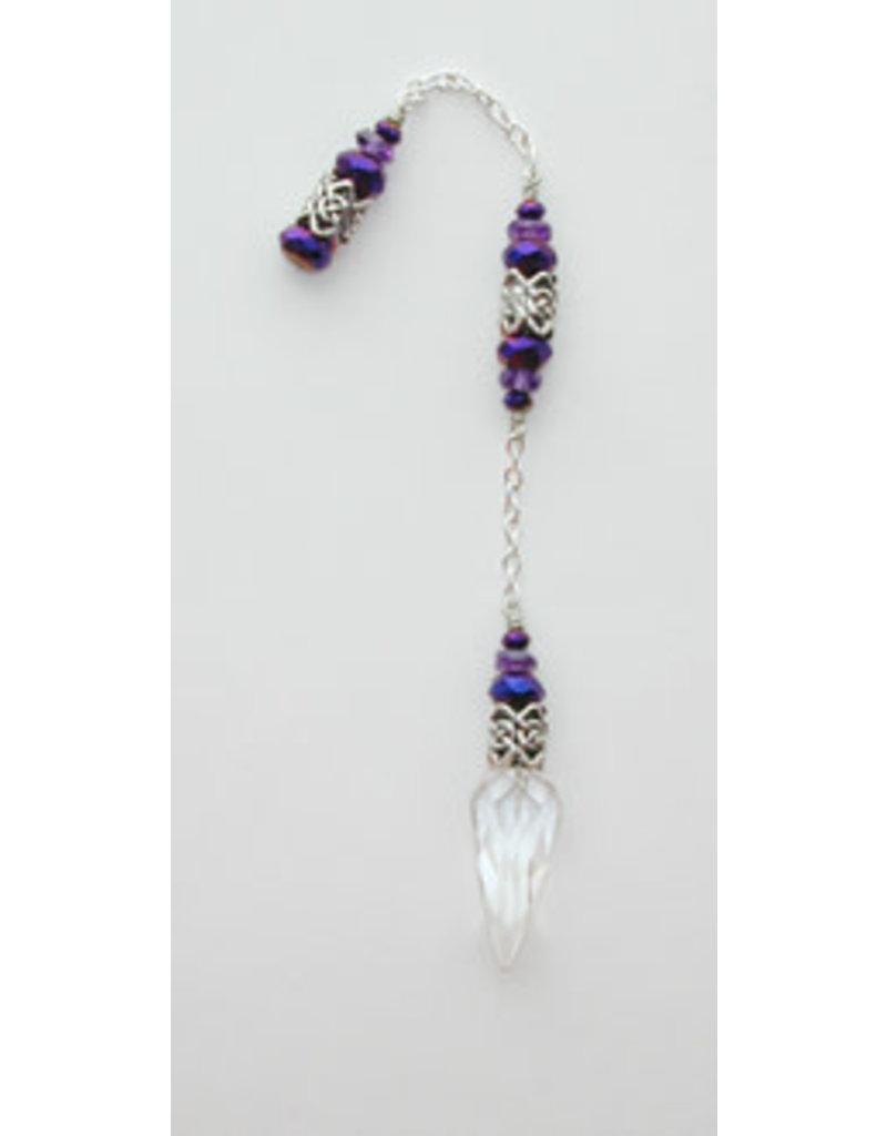 Pendulum Cl Qtz w Celtic & Purple Bead Accents