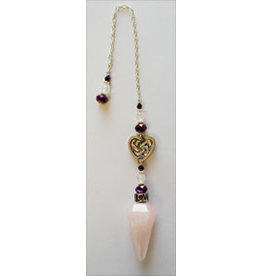 Pendulum Rose Quartz w/ Celtic Heart & Beads