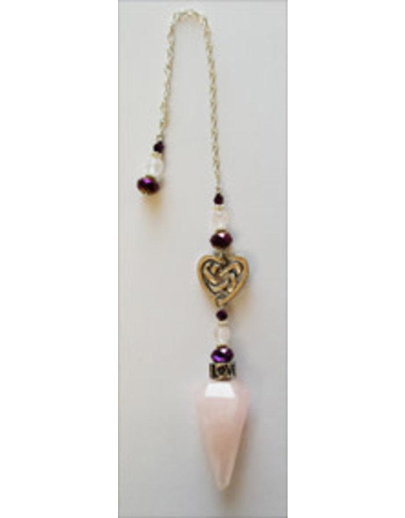Pendulum Rose Quartz w/ Celtic Heart & Beads