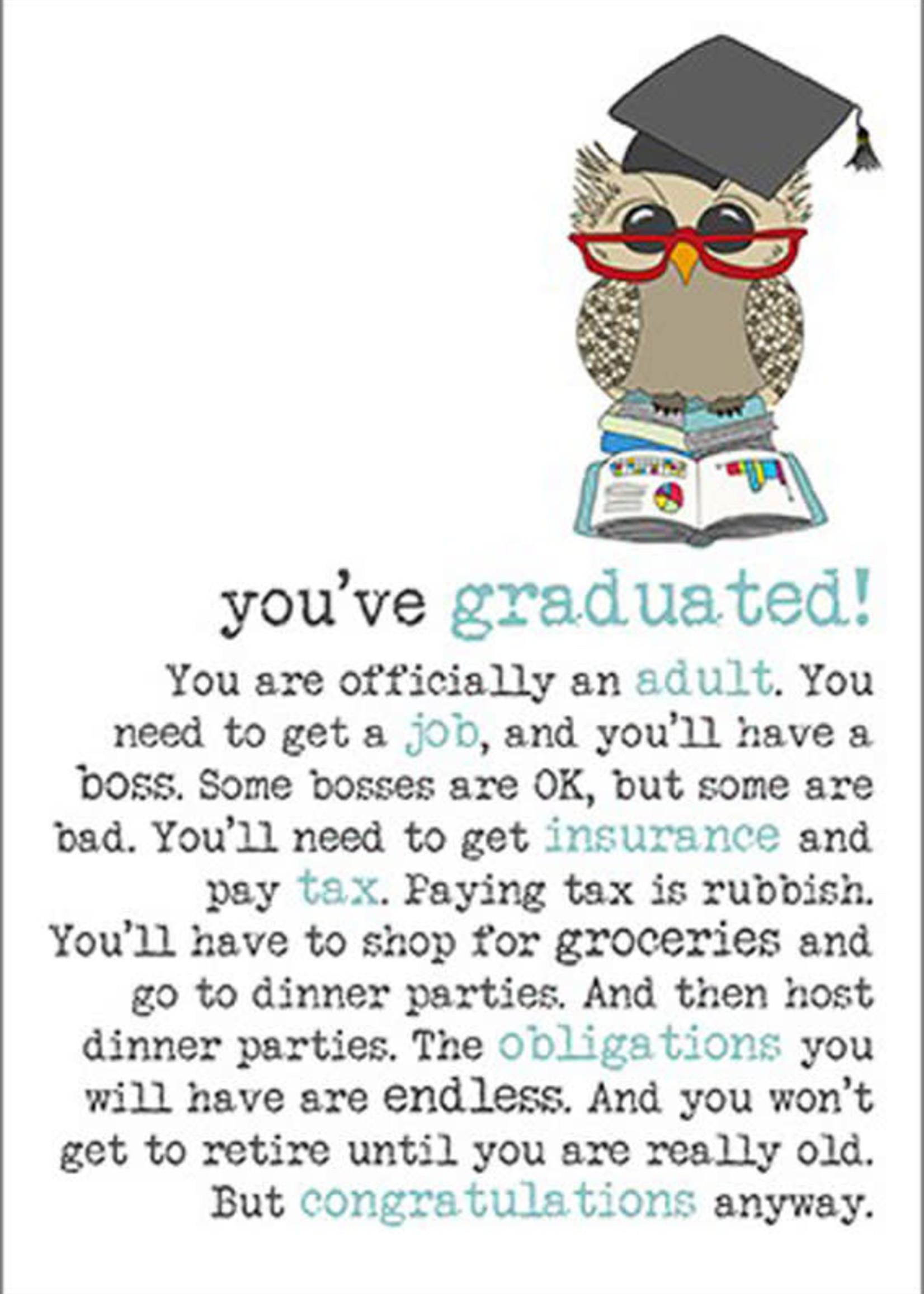 Card GRAD Owl You've Graduated!