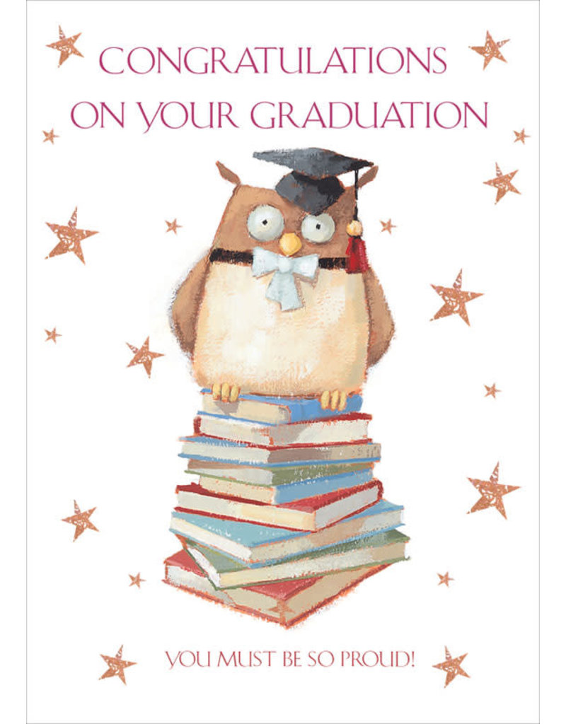 Card GRAD Owl on Books You Must Be Proud