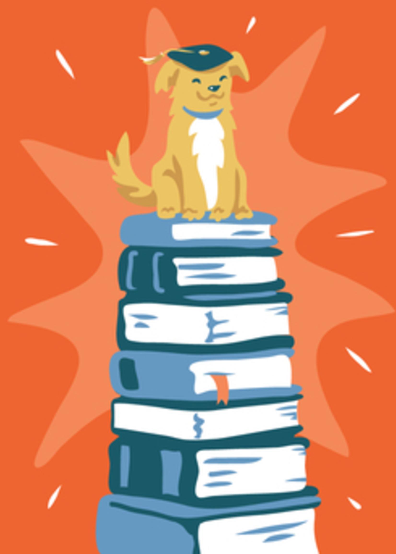 Card GRAD Dog on Stacks of Books