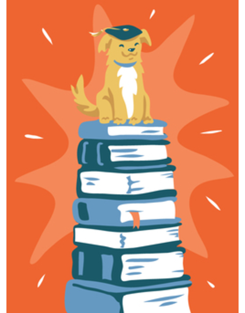 Card GRAD Dog on Stacks of Books