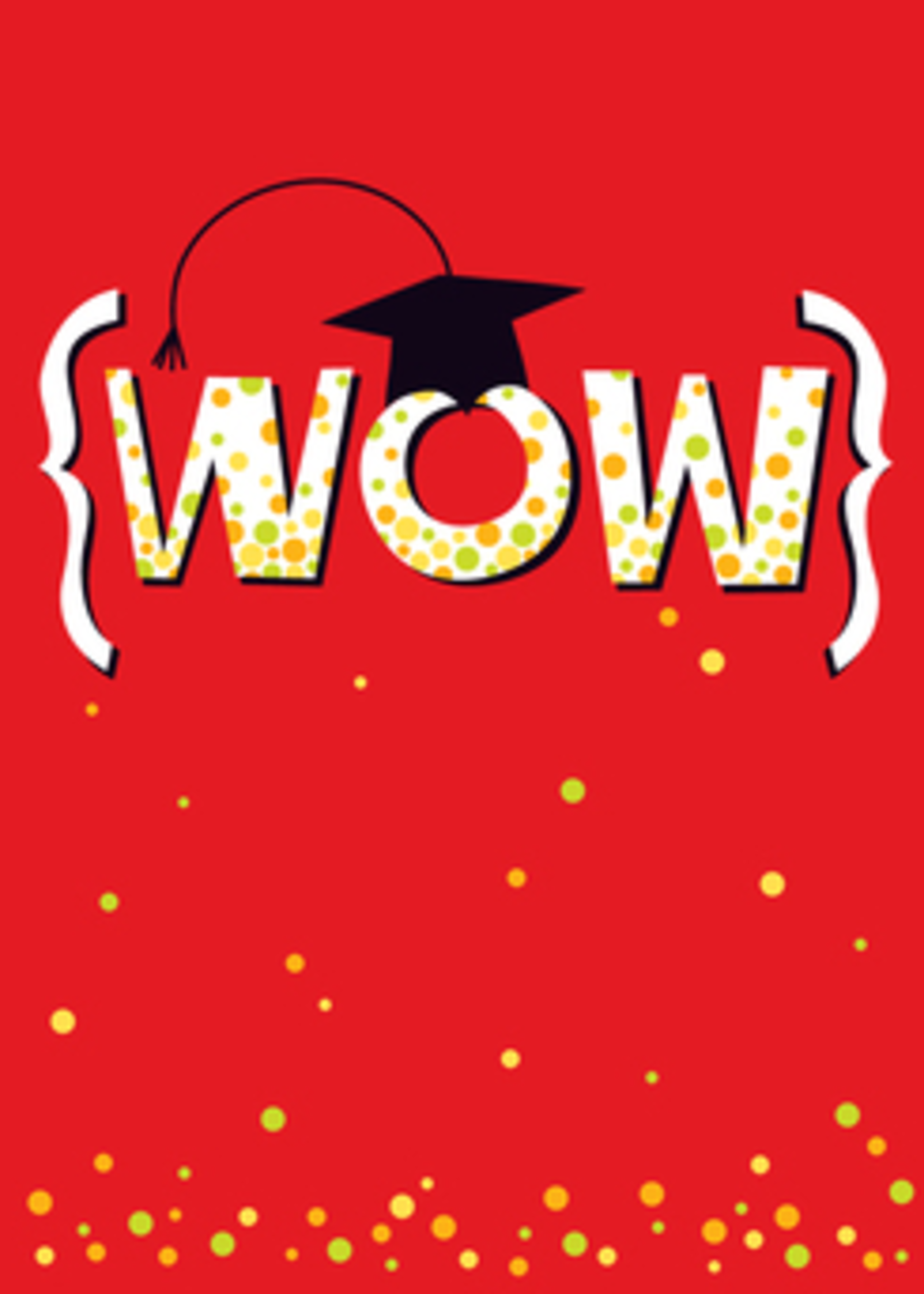 Card GRAD WOW On Red