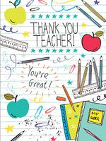 Card For Teacher School Supplies