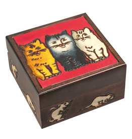BOX 4x4x2 Three Cats w/ Mice