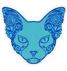 "BUMPER STICKER, BLUE SPHINX CAT (4.25x4"")"