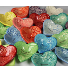 Giving Heart Bowl Asst.Colors & Words / Ceramic