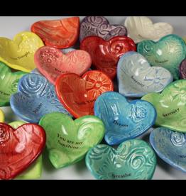 Heart Bowl Asst.Colors & Words / Ceramic