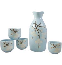 Sake Set Spring Blossom Lt Blue 4 Cups