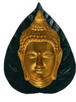 Wall Hanging Gold Buddha Face on Leaf