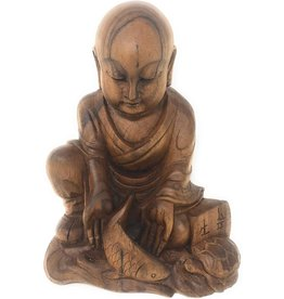 Statue Monk w Fish Suar Wood / Handcarved in BALI