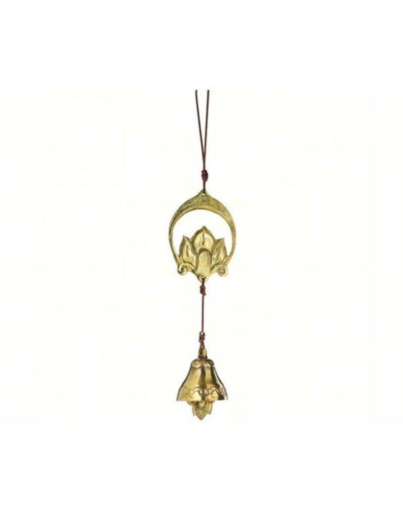 """BELL Crescent Lotus Door Chime 13"""" BRONZE N. INDIA"""