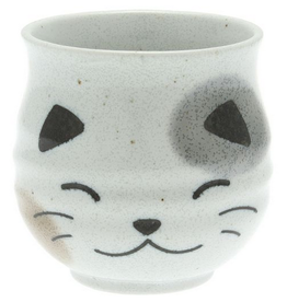 CUP White Cat w Tail Maneki Neko