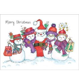 Card XMAS BX Red Hat Snow People
