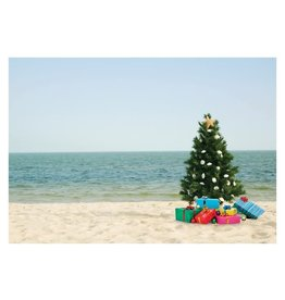 Card BX XMAS  Tree on Beach w Gifts