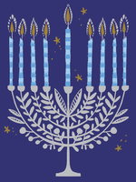 Silver Menorah with Leaves