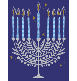 Great Arrow Silver Menorah with Leaves
