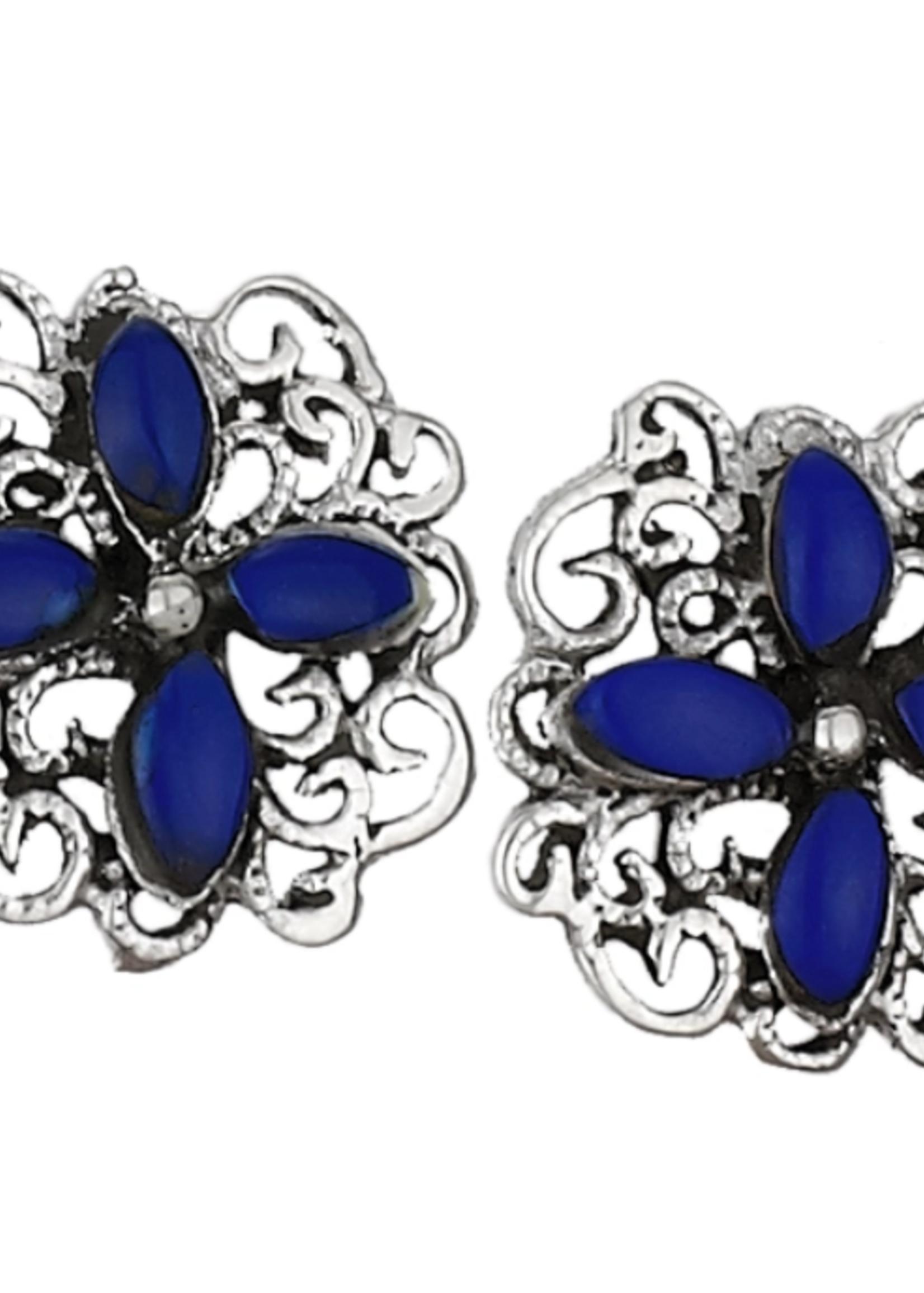 Earrings Lapis 4 Marquis Cabs Flower Stud