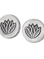 Earrings SS Lotus Coin Post