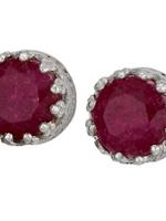 Earrings Ruby Rnd Facet Post