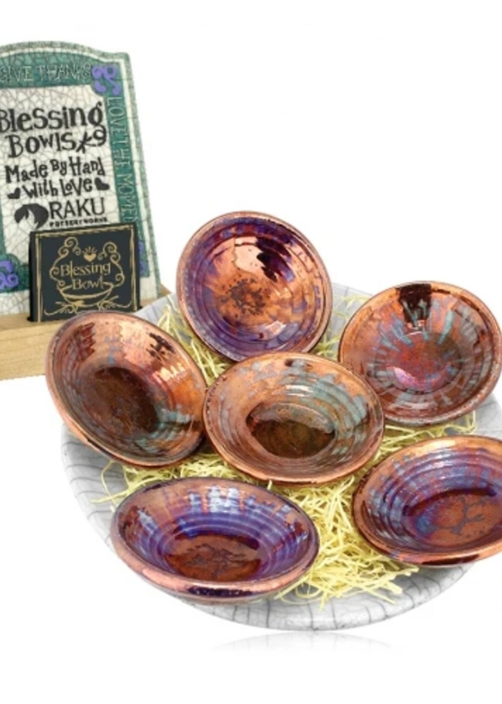 "Blessing Bowl Raku w/ Copper Glaze 3"""
