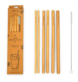 "Bamboo Step 10"" Straw Kit - 6 Straws/1Brush"